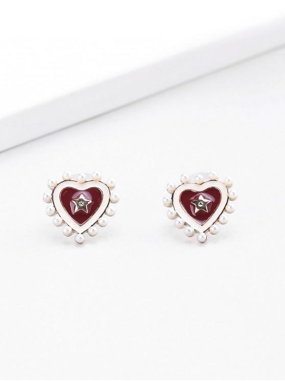 womens 18K Gold Plated Star Heart Enamel Shape Stud Earrings - RED WINE