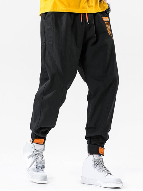 buy Hook Loop Hem Drawstring Cargo Pants - BLACK L