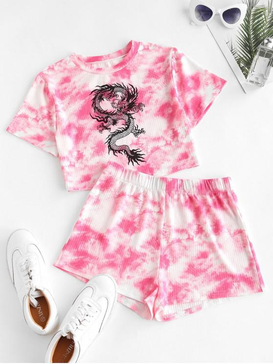 womens Chinese Dragon Graphic Tie Dye Crop Top And Shorts Set - RED M