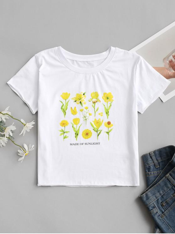 new MADE OF SUNLIGHT Floral Graphic Tee - WHITE S