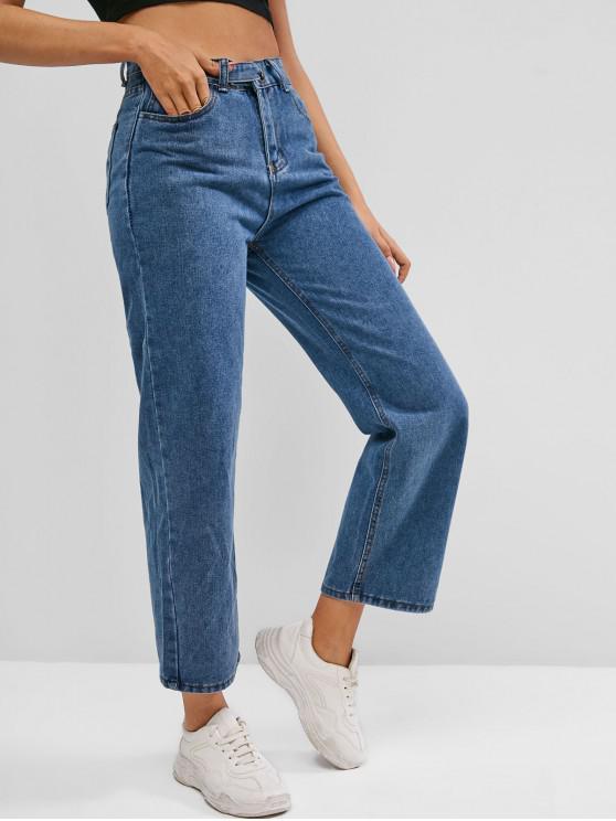 women Pocket High Waisted Straight Jeans - DEEP BLUE M
