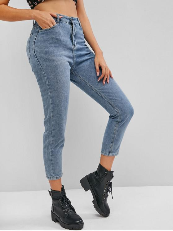 fancy Plain Skinny High Waisted Jeans - LIGHT BLUE M