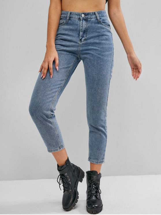 Plain Skinny High Waisted Jeans - Light Blue L   ZAFUL