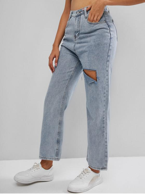 Cutout Light Wash Wide Leg Jeans - أزرق فاتح L