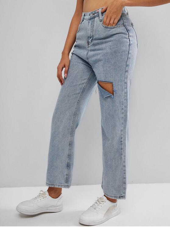 Calça Jeans com Pernas Largas e Recorte - Azul claro M
