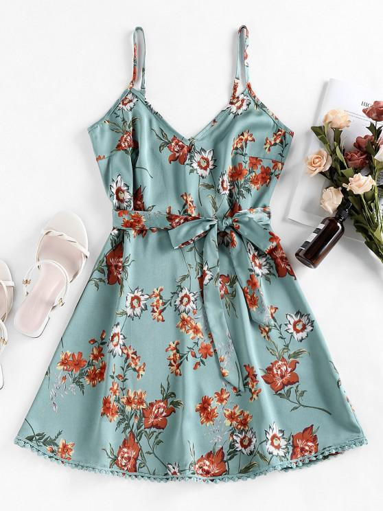 buy ZAFUL Pompom Floral Print A Line Dress - LIGHT SEA GREEN M