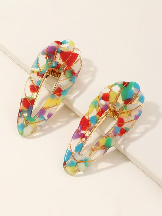 outfits 2Pcs Colored Scalloped Hollow Hair Clip Set - MULTI-A