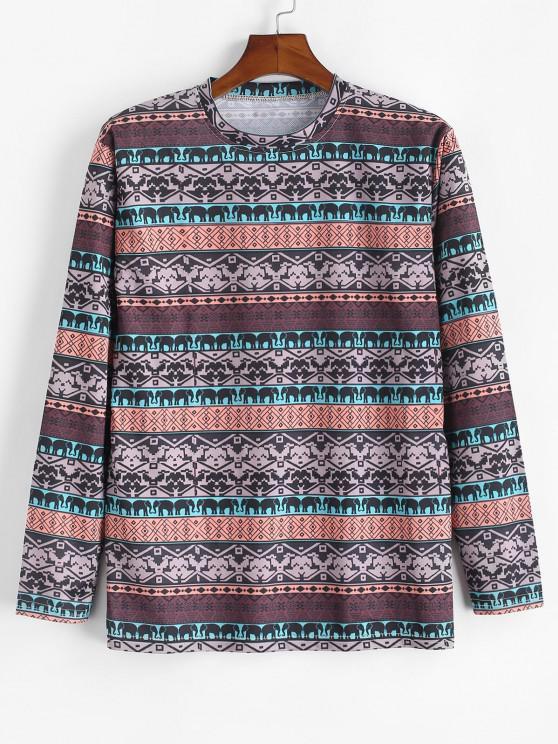hot Tribal Elephant Geometric Pattern T-shirt - CAMEL BROWN 3XL