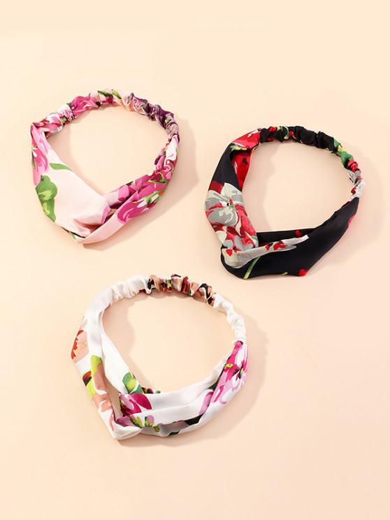 3Pcs Floral Printed Headband Set - متعددة-A