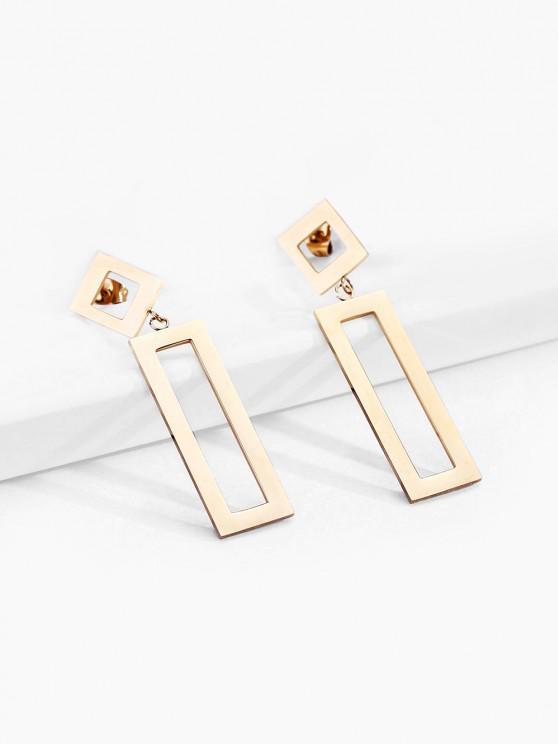 latest 18K Gold Plated Rectangle Earrings - GOLDEN