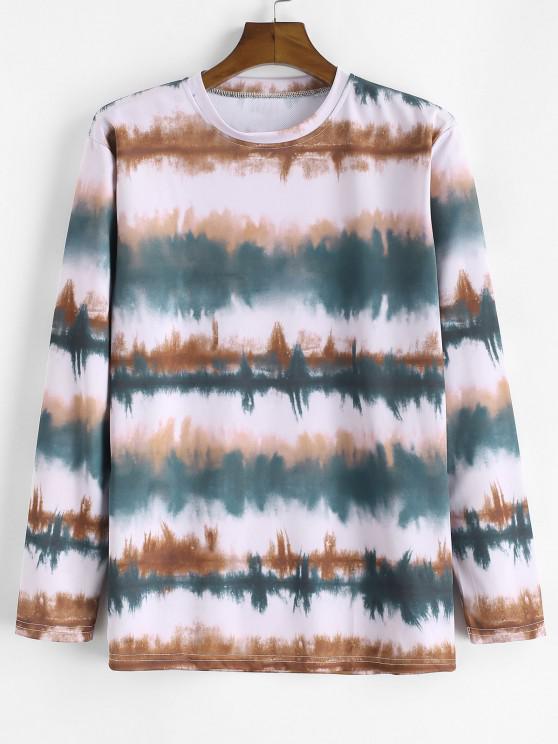 タイダイ印刷ロングスリーブTシャツ - グレーッシュターコイズ M