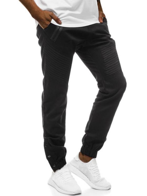ladies Mock Zipper Pocket Button Casual Jogger Pants - BLACK XL