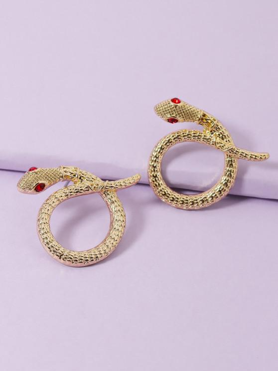 new Carved Snake Circular Earrings - GOLDEN