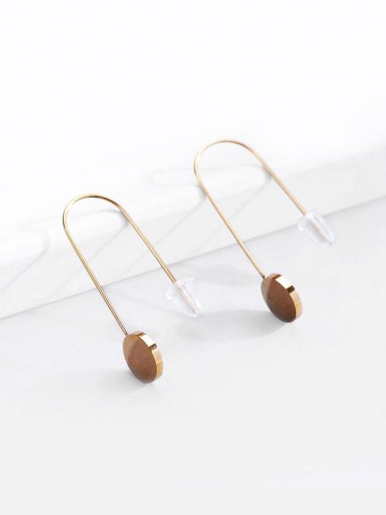 outfit 18K Gold Plated Disc Shape Drop Earrings - GOLDEN