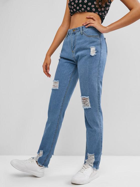 Destruídos Hem Desgastado Cintura Alta Jeans - Céu Azul L