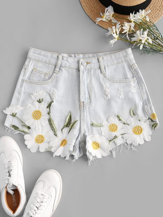 trendy Daisy Embroidered Patched Distressed Frayed Denim Shorts - LIGHT BLUE XL