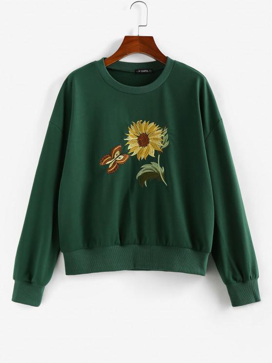 lady ZAFUL Flower Butterfly Embroidered Drop Shoulder Sweatshirt - DEEP GREEN M