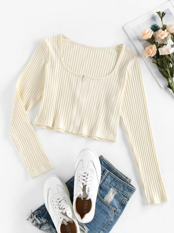 buy ZAFUL Ribbed Front Zip Crop T-shirt - LIGHT YELLOW L