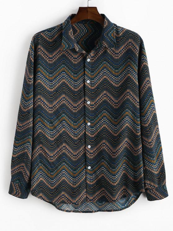 women's Tribal Zigzag Print Button Down Shirt - DEEP YELLOW M