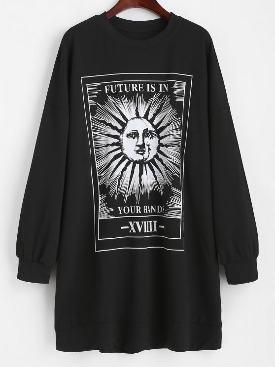 ladies Casual Sun Graphic Tie Dye Sweatshirt Dress - BLACK M