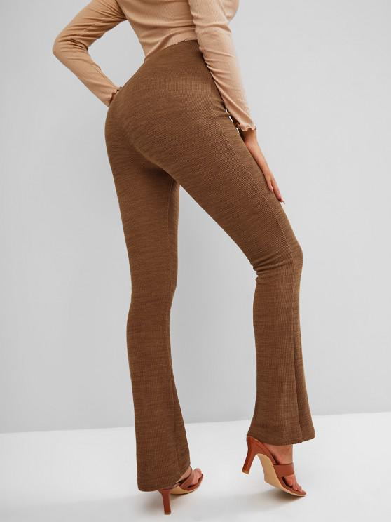 fashion ZAFUL Knitted High Waisted Boot Cut Pants - LIGHT BROWN S