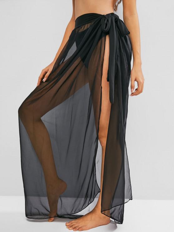 affordable See Through Maxi Wrap Skirt - BLACK XL