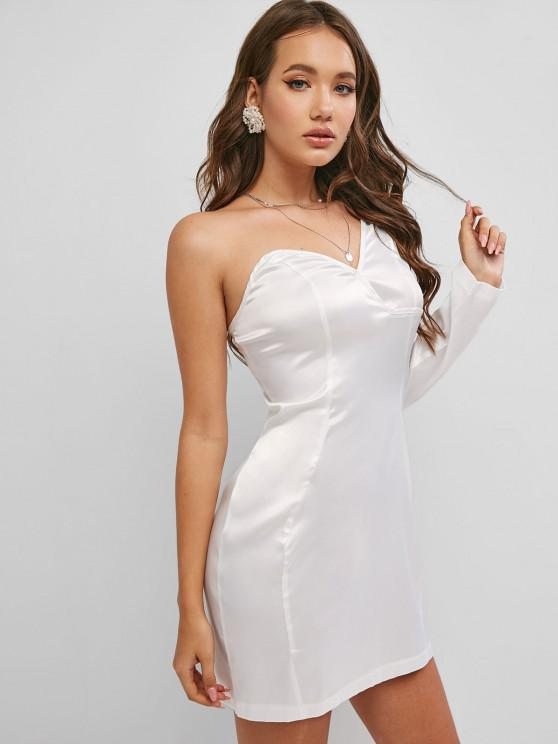 new One Shoulder Silky Satin Dress - WHITE S