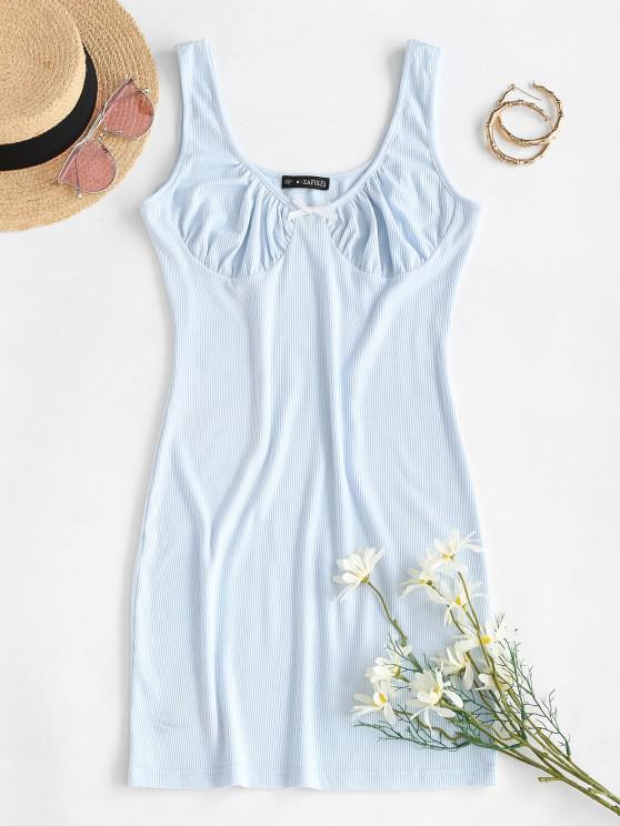 women ZAFUL Ribbed Bustier Bodycon Tank Dress - LIGHT BLUE XL