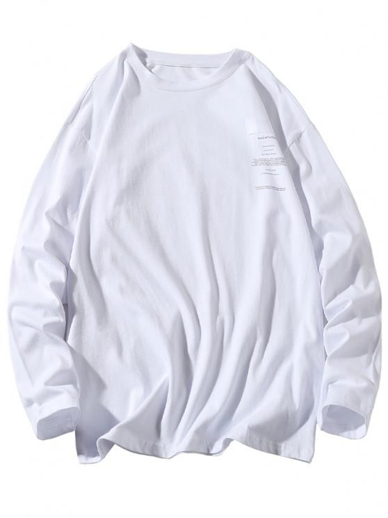 latest Long Sleeve Letter Graphic T-shirt - WHITE 3XL