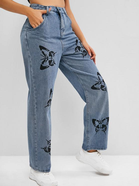 affordable High Waisted Butterfly Print Straight Jeans - BLUE L