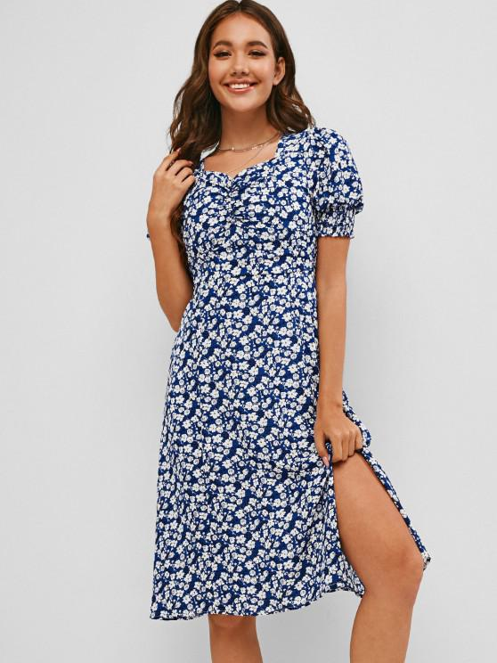 women Ditsy Floral Slit Ruched Smocked Cuff Tea Dress - BLUE XL