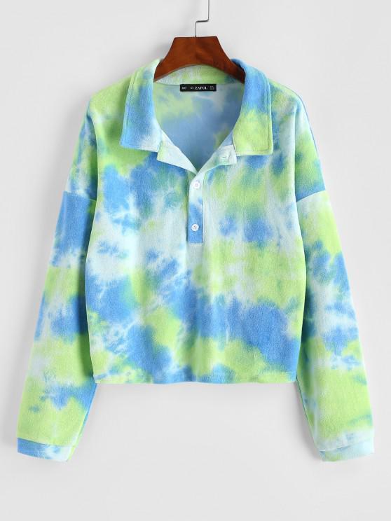 lady Tie Dye Terry Cloth Drop Shoulder Sweatshirt - GREEN S