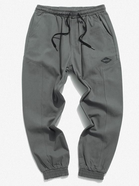 Pantalones Apliques Elásticos de Color Sólido - Gris S