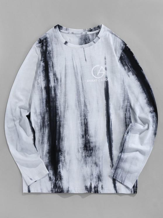 affordable ZAFUL Tie Dye Print Long Sleeve Graphic T-shirt - LIGHT GRAY 2XL