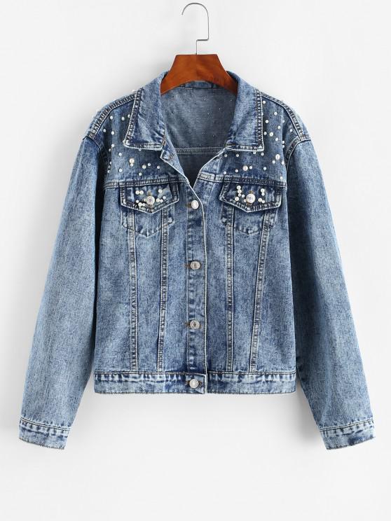 chic Faux Pearl Button Up Trucker Denim Jacket - LIGHT BLUE XL
