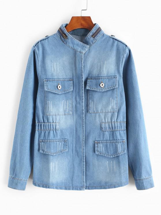 Grunge Frayed Medium Wash Denim Jacket - أزرق فاتح XL
