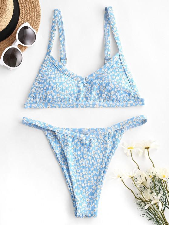 outfit ZAFUL Ribbed Flower Tanga Bikini Swimwear - LIGHT BLUE S
