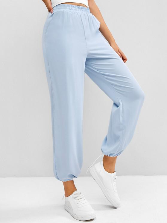 shop High Rise Pull On Pants - LIGHT BLUE ONE SIZE