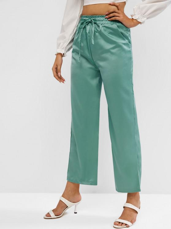 outfit High Rise Satin Wide Leg Pants - GREEN ONE SIZE