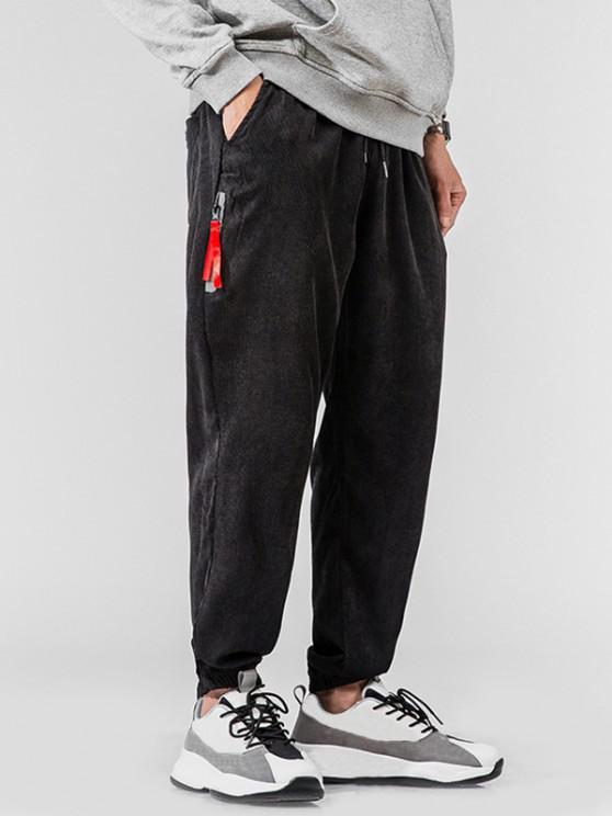 Side Faux Pocket Embroidery Corduroy Pants - أسود 2XL