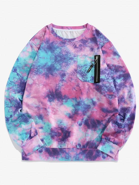 ZAFUL Tie Dye Print Zipper Pocket Sweatshirt - متعدد XL