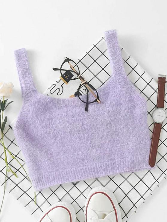 lady Mohair Knit Cropped Tank Top - PURPLE S