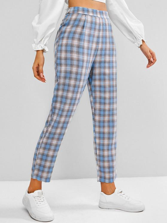fancy Plaid Side Zipper Straight Pants - BABY BLUE M