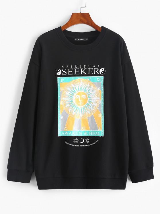 outfits Sun Slogan Print Drop Shoulder Pullover Sweatshirt - BLACK M