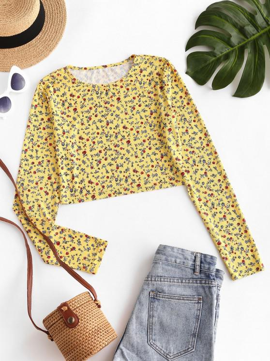 fancy ZAFUL Ditsy Floral Ribbed Cropped Tee - YELLOW S