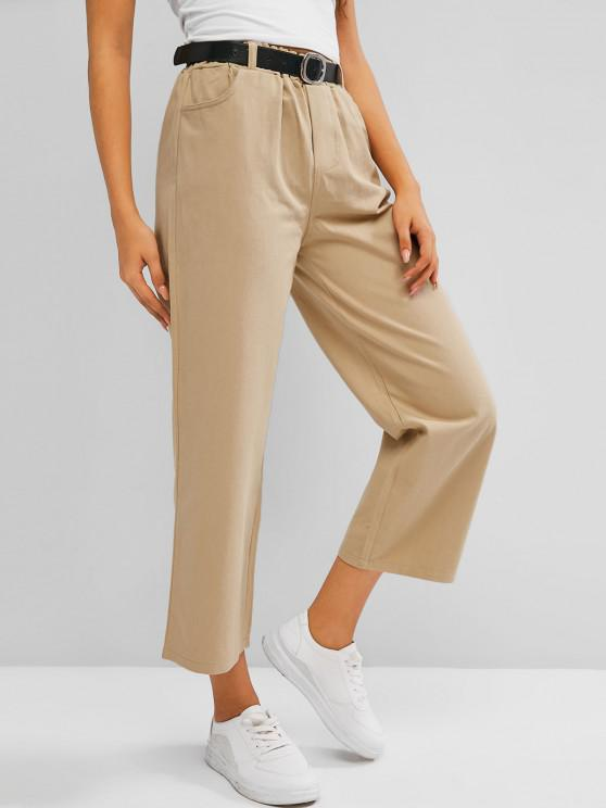 latest High Waisted Buckle Belted Wide Leg Pants - APRICOT M