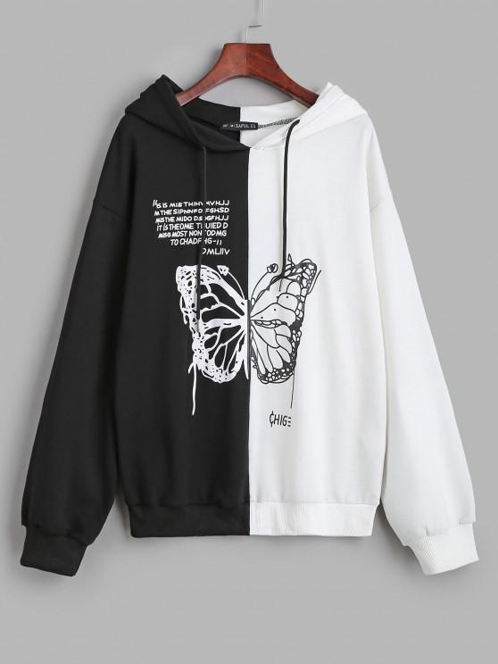 Sudadera con Capucha Casual de Mariposa y de Color Bloque - Negro S