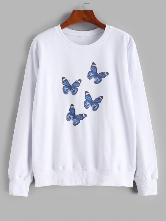 Crew Neck Butterfly Print Sweatshirt - أبيض M