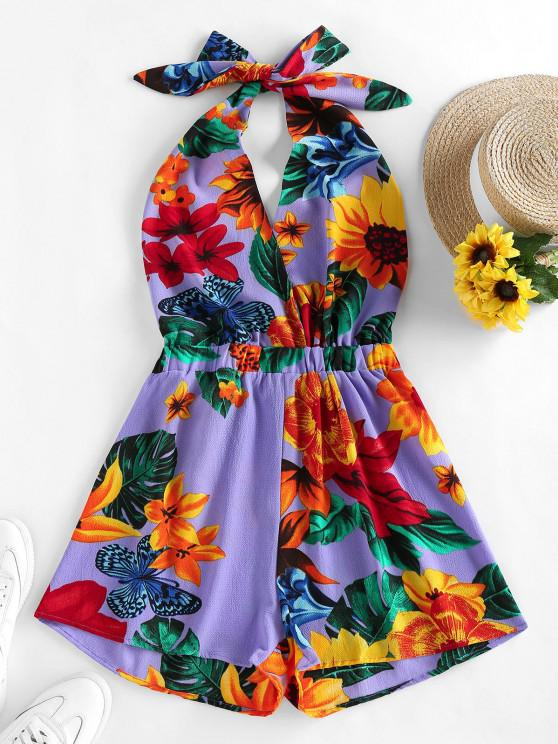 outfits ZAFUL Halter Backless Tropical Print Romper - PURPLE M