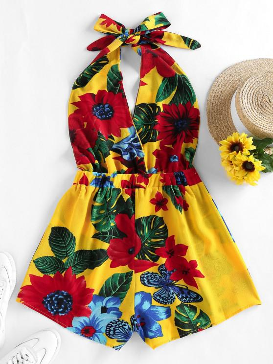buy ZAFUL Halter Backless Tropical Print Romper - YELLOW S